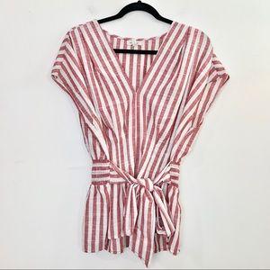 MAX STUDIO Yarn Dye Stripe Woven Top Red White Bow